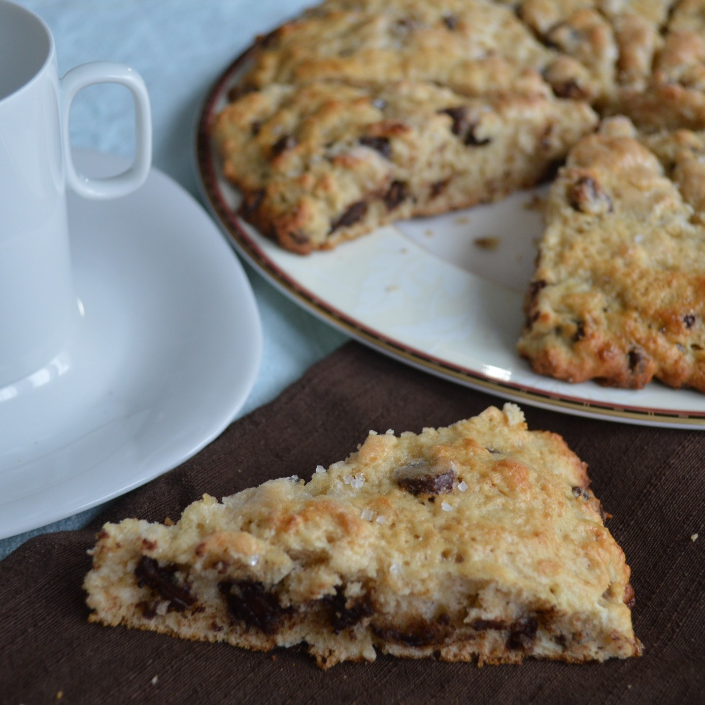 ... buttermilk scones are topped with chocolate for a pop of sweetness