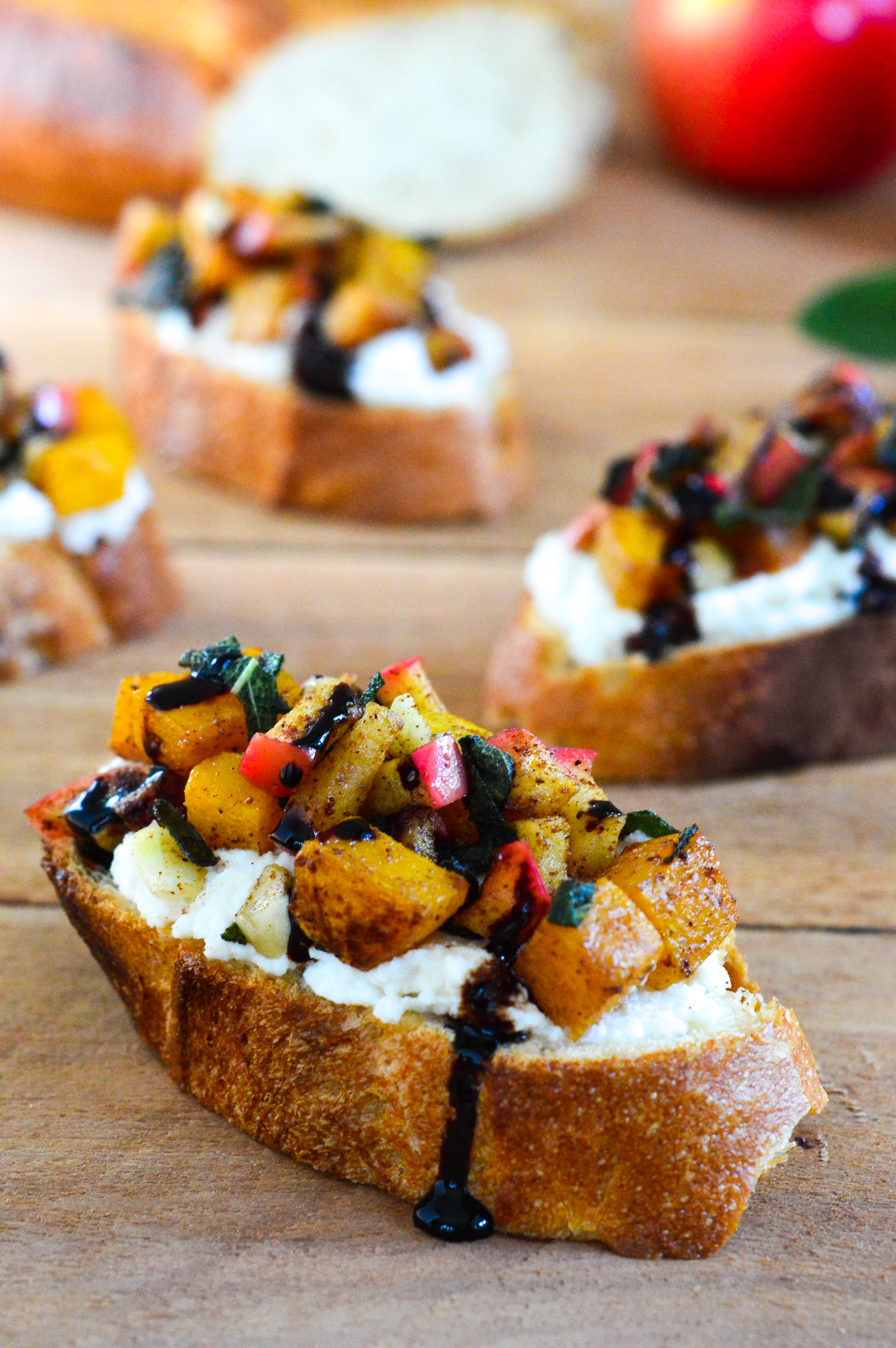 butternut squash and apple bruschetta