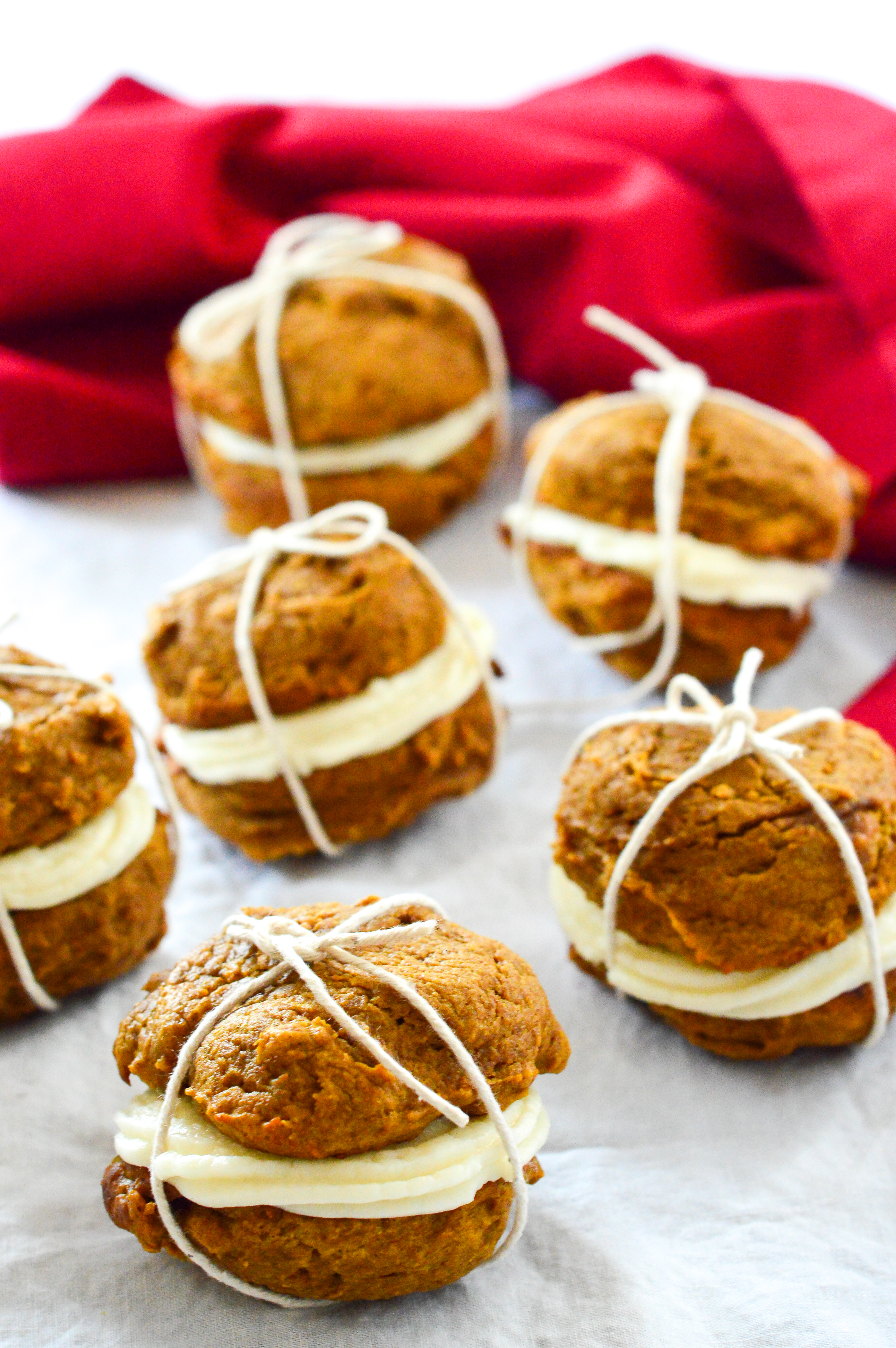 pumpkin whoopie pies with maple frosting